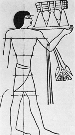 Незаконченный древнеегипетский рисунок фигуры человека